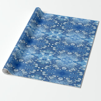 Blue Bubbles Abstract Ice Water Wrapping Paper