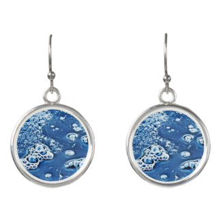 Blue Bubbles Ice and Water Abstract Drop Earrings