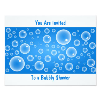 Blue Bubbles, You Are Invited, To a Bubbly Shower 11 Cm X 14 Cm Invitation Card