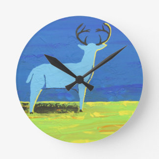 Blue Buck Round Clock