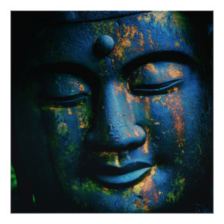 Blue Buddha Om Peace Poster