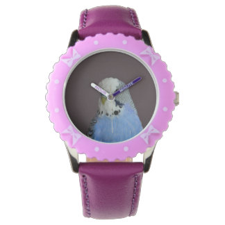Blue Budgie Bird Animal Wristwatch