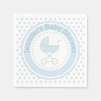 Blue Buggy Baby Shower Disposable Napkins