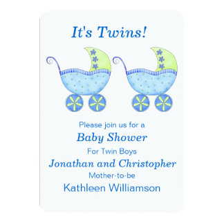 Blue Buggy Carriage Twin Boys Baby Shower 13 Cm X 18 Cm Invitation Card