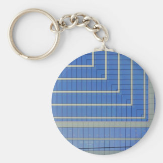 Blue Building Block 4 Basic Round Button Key Ring