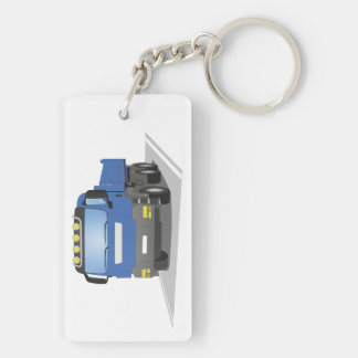 blue building sites truck Double-Sided rectangular acrylic key ring