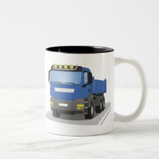 blue building sites truck Two-Tone coffee mug