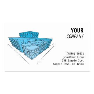Blue buildings in perspective business cards