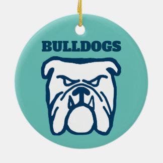 Blue Bulldog Ceramic Ornament