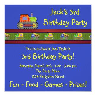 Blue Bulldozer 3rd Birthday Party Invitation