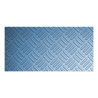 Blue Bumped Metal Textured Photo Greeting Card