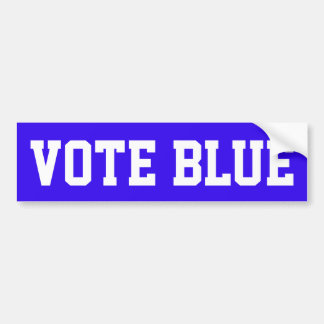 "BLUE BUMPER STICKER WITH CAPTION ""VOTE BLUE"""