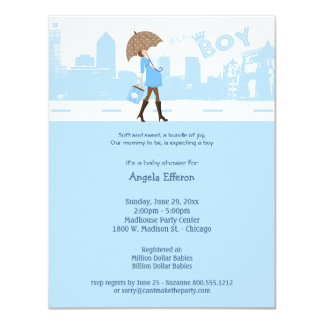 Blue Bundle Of Joy Baby Shower Invitation