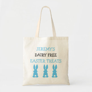 Blue Bunnies Food Allergy Personalized Easter Budget Tote Bag