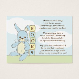 Blue Bunny Baby Shower Book Insert Request Card