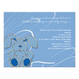 Blue Bunny Baby Shower Invitation