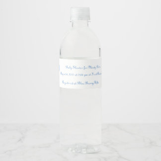 Blue Bunny Baby Shower Unique Invitation Idea Water Bottle Label