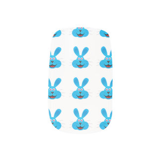 Blue Bunny Face Nail Stickers