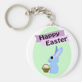 Blue Bunny Happy Easter Basic Round Button Key Ring
