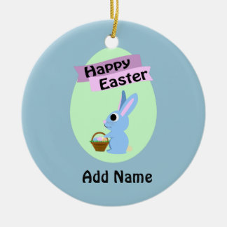 Blue Bunny Happy Easter Ornaments