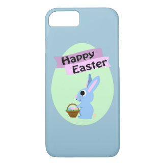Blue Bunny Happy Easter iPhone 7 Case