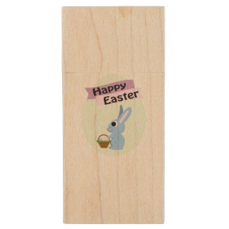 Blue Bunny Happy Easter Wood USB 2.0 Flash Drive