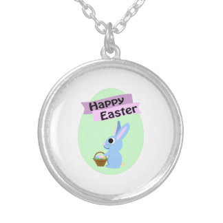 Blue Bunny Happy Easter Necklaces