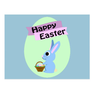 Blue Bunny Happy Easter Postcard