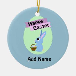 Blue Bunny Happy Easter Round Ceramic Decoration