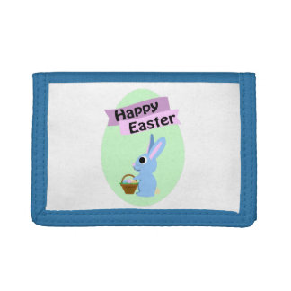 Blue Bunny Happy Easter Trifold Wallets