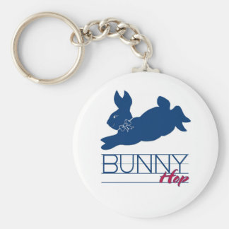 Blue Bunny Hop Basic Round Button Key Ring