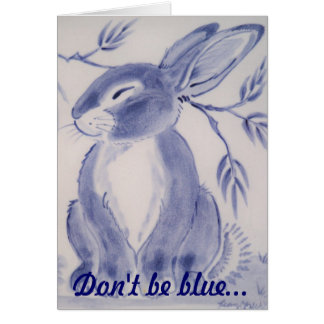 Blue Bunny Rabbit Get Well Card