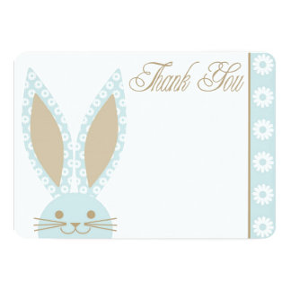 Blue Bunny Rabbit Thank you card 13 Cm X 18 Cm Invitation Card