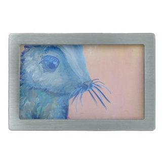 blue bunny rectangular belt buckles