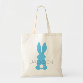 Blue Bunny Silhouette Easter Personalized Budget Tote Bag