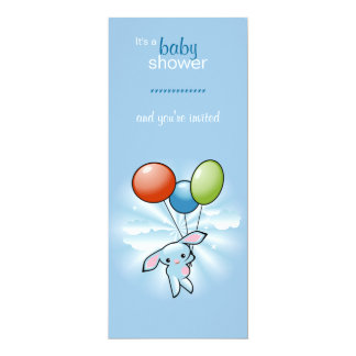 Blue Bunny with Colored Baloons Baby Shower 10 Cm X 24 Cm Invitation Card
