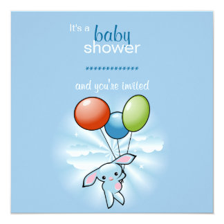 Blue Bunny with Colored Baloons Baby Shower 13 Cm X 13 Cm Square Invitation Card