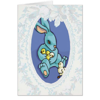 Blue Bunny With Flowers Easter Card