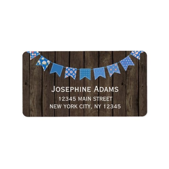 Blue Bunting Address Labels Wood