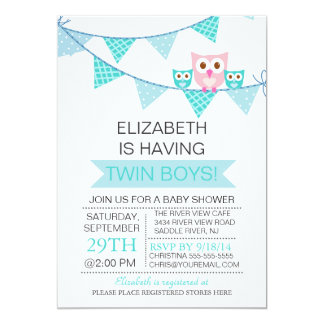 Blue Bunting Pennant Owl TWIN Boys Baby Shower Card