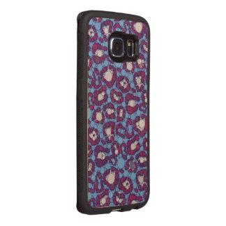 Blue Burgundy Cheetah Abstract Wood Phone Case