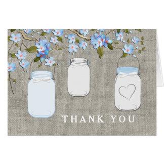 Blue Burlap Mason Jar Thank You Card