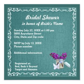 Blue Burlap, Purple Flowers, Jar Bridal Shower Inv 13 Cm X 13 Cm Square Invitation Card