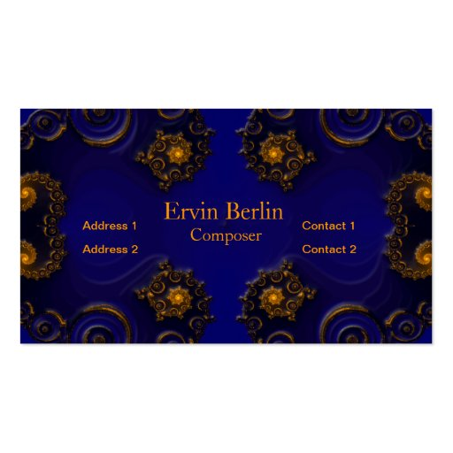Blue Business Card with Golden Decorations