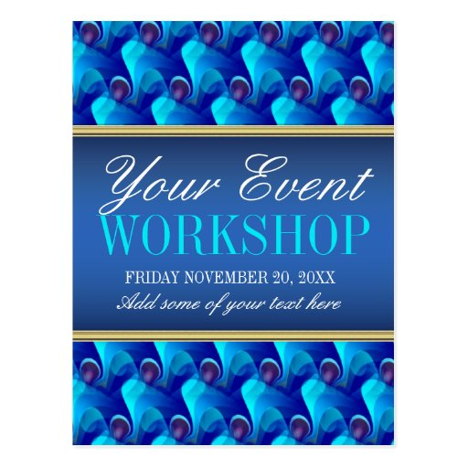 Blue Business Workshop Party Invitation template Post Card