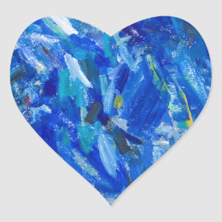 Blue Bust (abstract expressionism) Heart Sticker