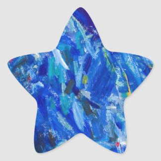 Blue Bust abstract expressionism Star Stickers