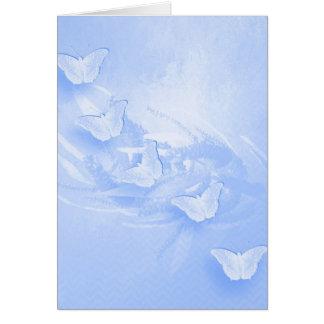 Blue butterflies and wattle vertical card