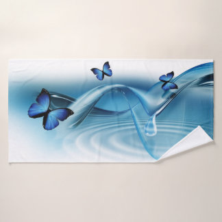 Blue Butterflies Bath Towel