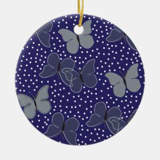 Blue Butterflies Ceramic Ornament